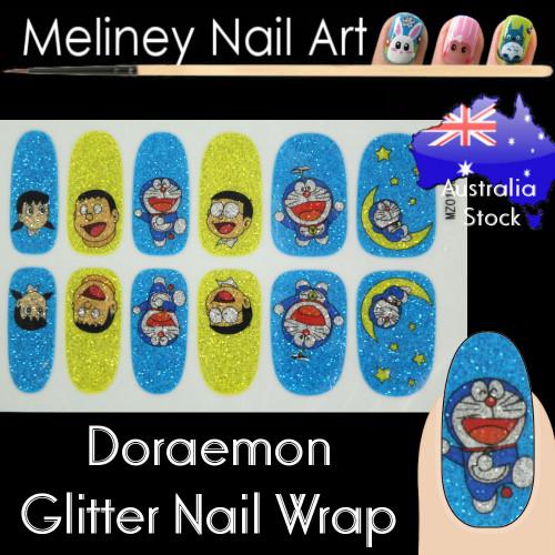 doraemon glitter nail wraps