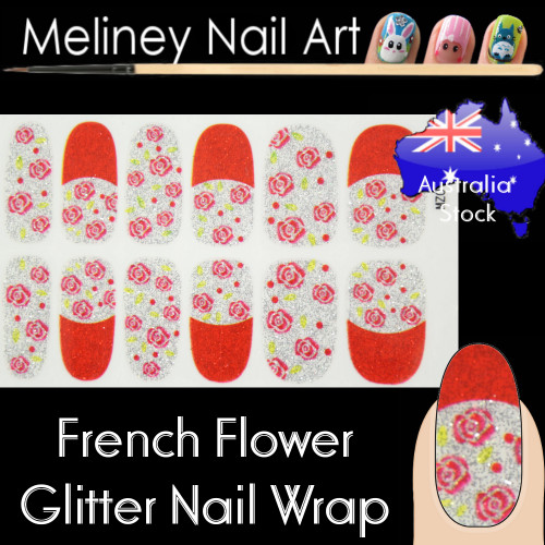 french rose glitter nail wraps