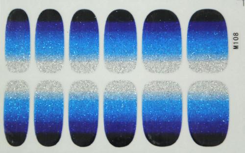 Glitter Nail Wrap - Gradient Blue
