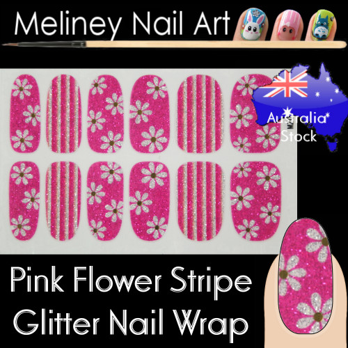 Pink Flower stripe nail wraps sticker