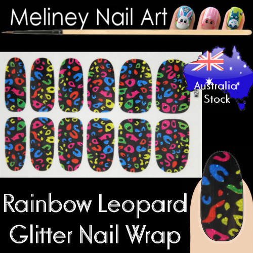 Rainbow Leopard nail wraps sticker