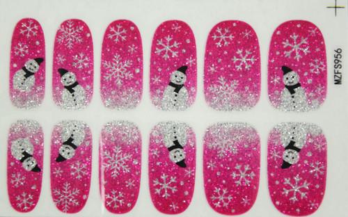 Glitter Nail Wrap - Pink Snowman