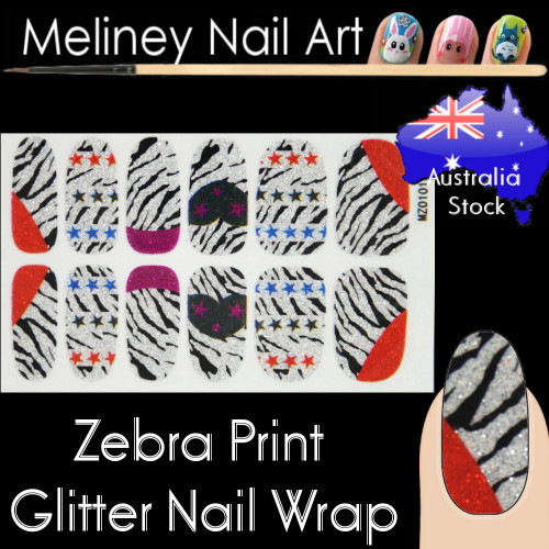 Zebra Print nail wraps stickers