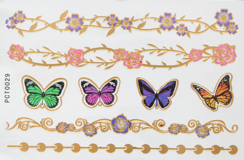 3d Metallic Flash Body Tattoos butterfly