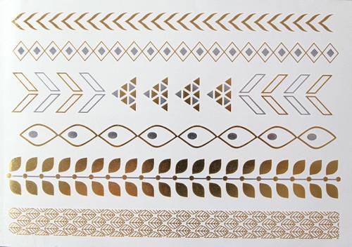 Metallic Flash Temporary Body Tattoos gold leaf bracelet