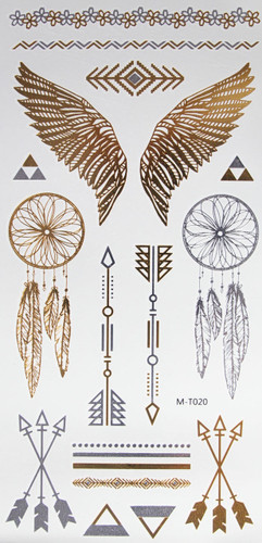 Metallic Flash Temporary Body Tattoos gold wings dream catcher