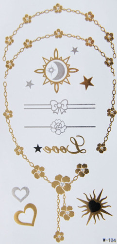 Metallic Flash Temporary Body Tattoos flower chain gold