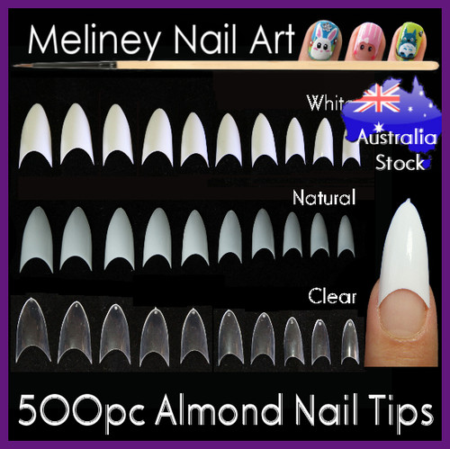 500pc almond nail tips stiletto