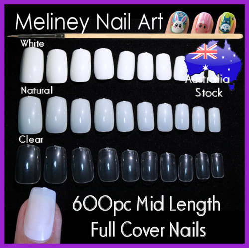 full cover mid length false nail tips