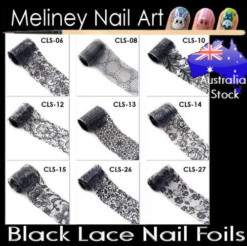 Black lace nail foils Set