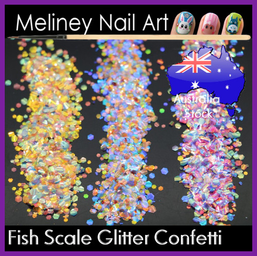 Mermaid Fish Scale hexagon confetti