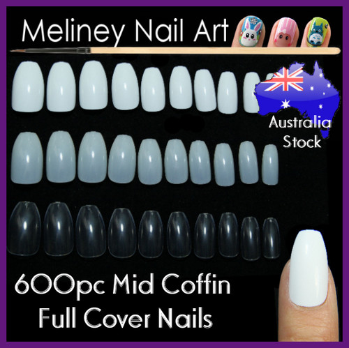 600pc Mid length Coffin full cover nails