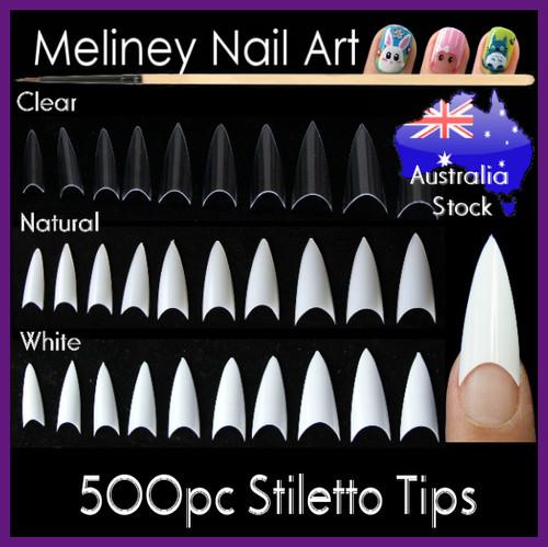 500pc stiletto pointy nail tips