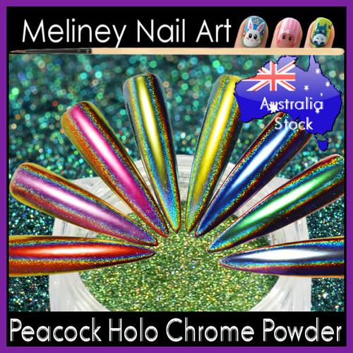 Peacock Holographic Chrome Powder
