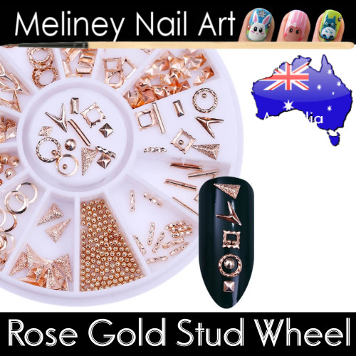 rose gold studs wheel nail art decal
