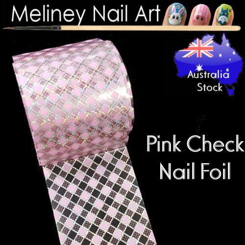 Pink Check Nail Art Transfer Foil