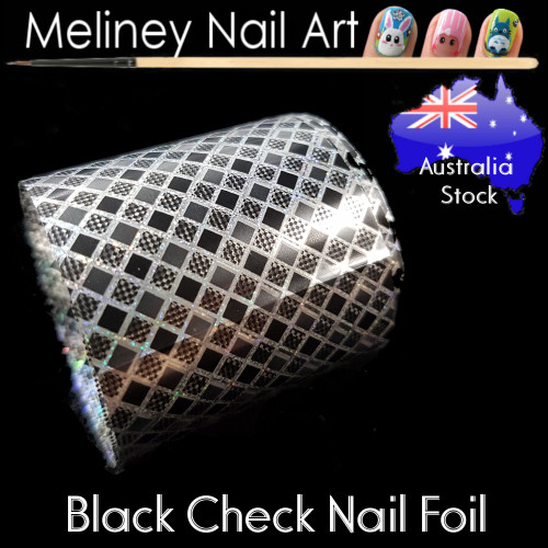 Black Check Nail Art Transfer Foil