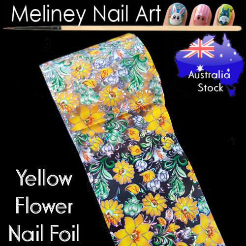 Yellow Flower Nail Art Transfer Foil