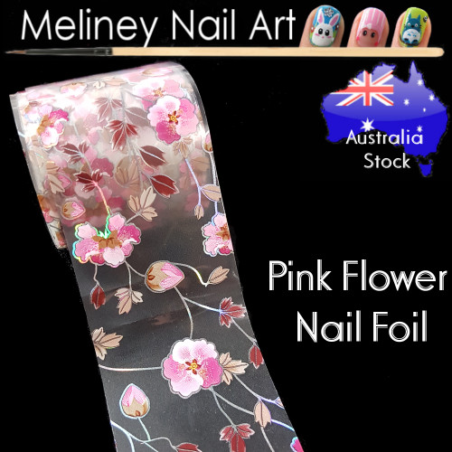 Pink Flower Nail Art Transfer Foil