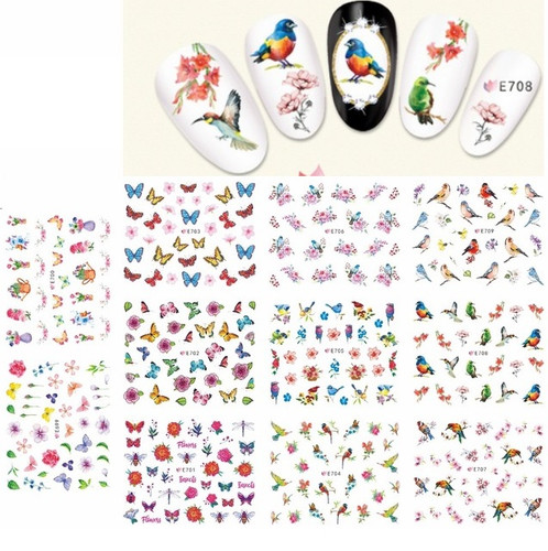 Nail Art Stickers - Butterfly Birds