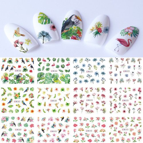 Water Decal Nail Stickers - Tropical Birds Flowers