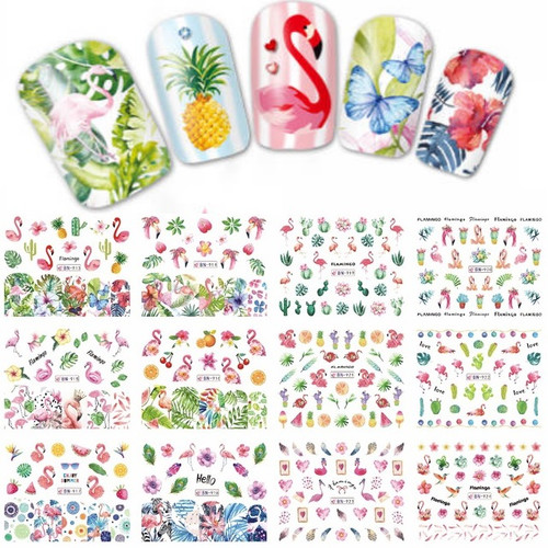 Water Decal Nail Art Stickers - Flamingo Tropical Holiday