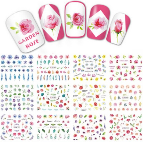 Water Decal Nail Art Stickers - Flowers feathers