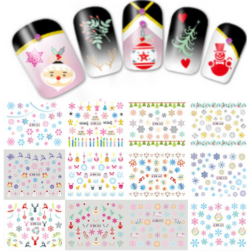 Water Decal Nail Art Stickers - Christmas Snowflake