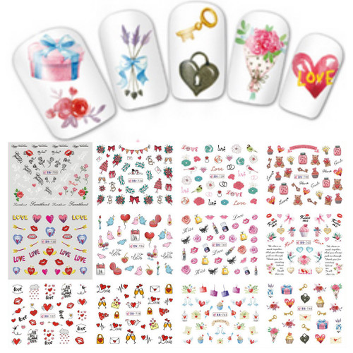 Water Decal nail art sticker - Valentine's Day Love