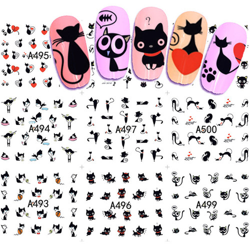 Water Decal nail art sticker - black cats