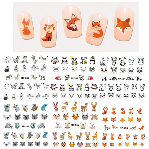 Water Decal Nail Art Stickers - Wild Animals