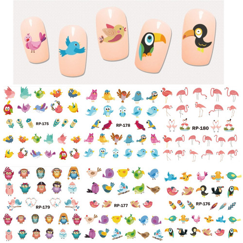 Water Decal Nail Art Stickers - Cartoon Birds