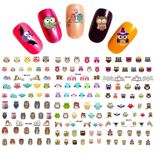 Water Decal Nail Art Stickers - owls