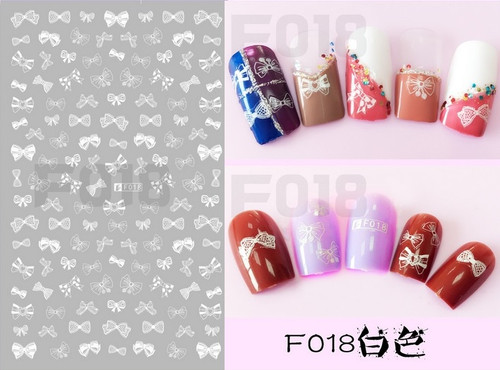 White bow nail sticker