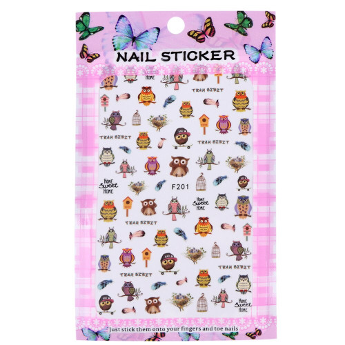 Owl Nail Stickers F201