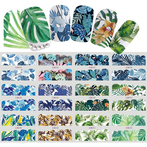 Water Decal nail art stickers -Leaf Wrap