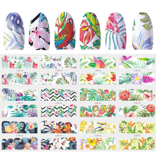 Water Decal nail art stickers -Flower Wrap