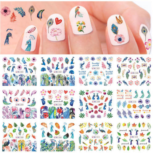 Water Decal nail art stickers - Peacock