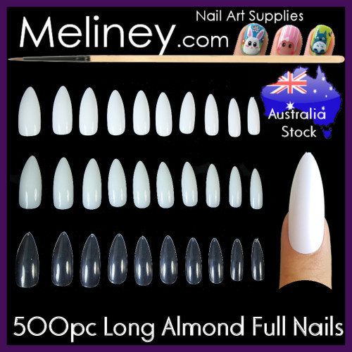Long Almond Full Cover Nails