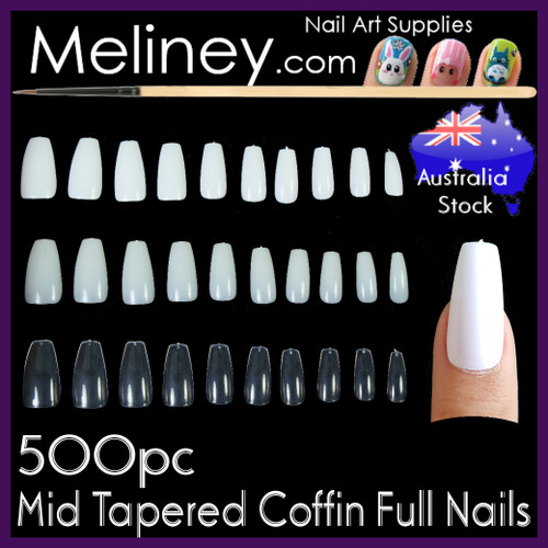500pc Mid Tapered Coffin Full Cover Nails