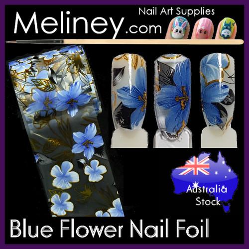 Blue Flower Nail art Foil