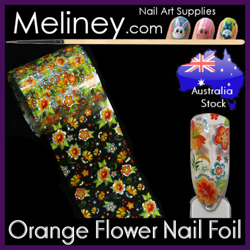 Orange Flower Nail Art Transfer Foil