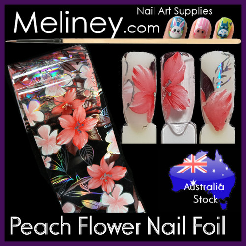 Peach Flower Nail Art Transfer Foil