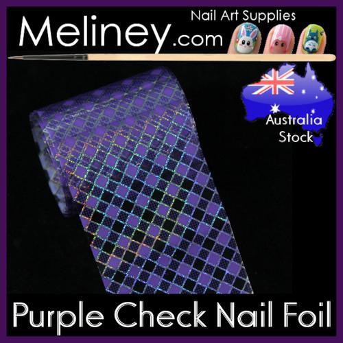 Purple Check Nail Art Transfer Foil