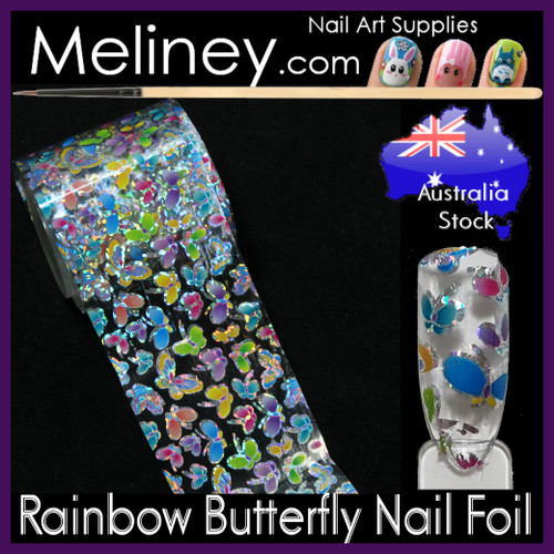 Rainbow Butterfly Nail Art Transfer Foil