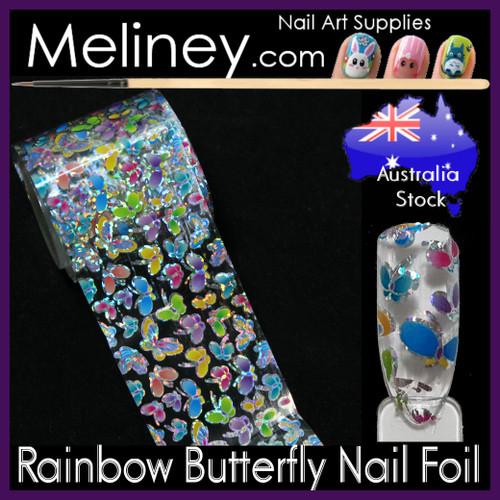 Rainbow Butterfly Nail Art Transfer Foil