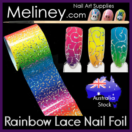 Rainbow Lace Nail Art Transfer Foil