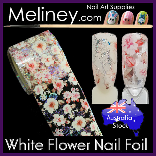 White Flower  Nail Art Transfer Foil