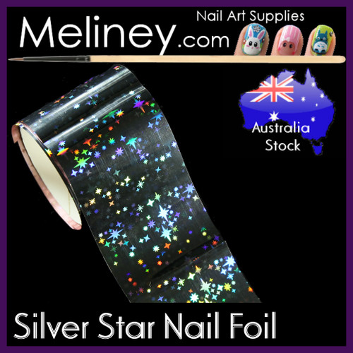 Silver Stars  Nail Art Transfer Foil