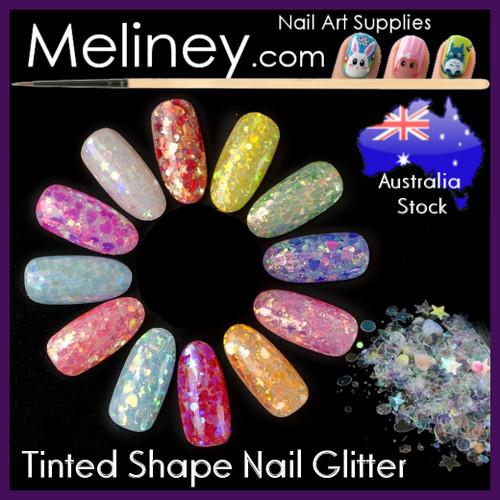 Tinted Shapes Nail Glitter
